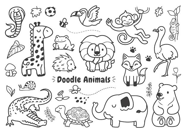 Conjunto de rabiscos de animais simples na floresta