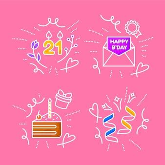 Conjunto de rabiscos de aniversário desenhados à mão