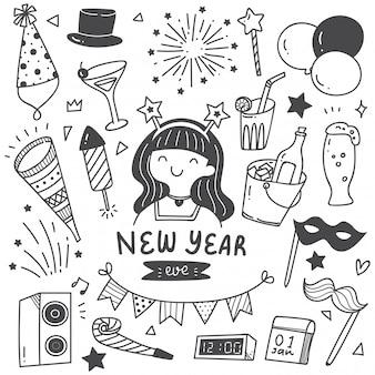 Conjunto de rabiscos de ano novo