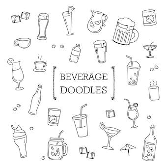 Conjunto de rabiscos de bebidas, bebidas de estilos de desenho de mão.