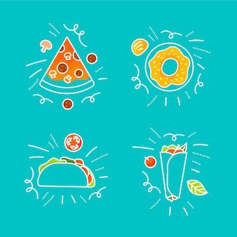 Conjunto de rabiscos de comida desenhados à mão