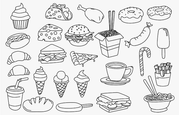 Conjunto de rabiscos de comida