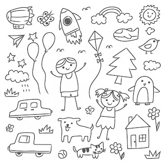 Conjunto de rabiscos de criança mão desenhada