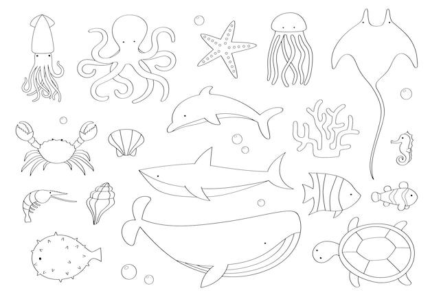 Conjunto de rabiscos de criaturas marinhas em fundo branco