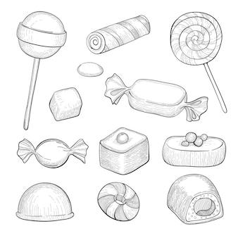 Conjunto de rabiscos de doces diferentes