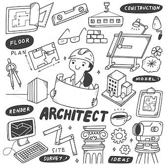 Conjunto de rabiscos de equipamento de arquiteto