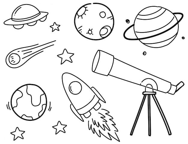 Conjunto de rabiscos de espaço