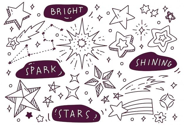 Conjunto de rabiscos de estrelas desenhadas à mão