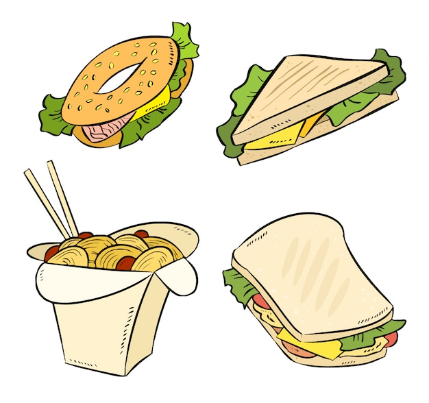 Conjunto de rabiscos de fast-food. coleção de macarrão sanduíche, bagle, wok.