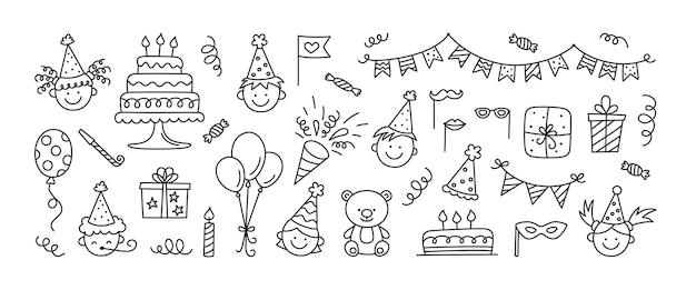 Conjunto de rabiscos de feliz aniversário