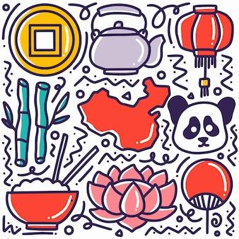 Conjunto de rabiscos de feriados chineses desenhando à mão com ícones e elementos de design