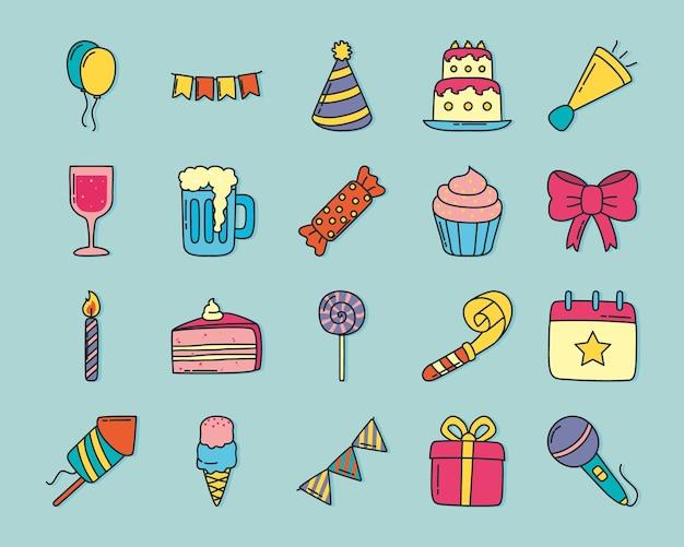 Conjunto de rabiscos de festa de aniversário desenhados à mão