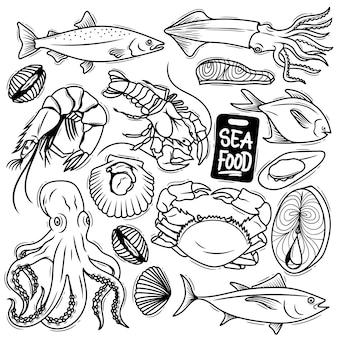 Conjunto de rabiscos de frutos do mar desenhados à mão