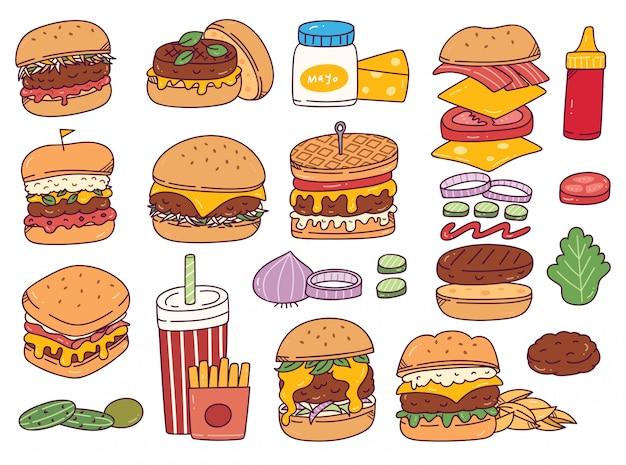 Conjunto de rabiscos de hambúrguer