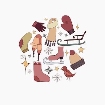 Conjunto de rabiscos de ilustrações sobre o tema inverno