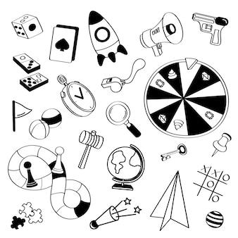 Conjunto de rabiscos de jogos de mão desenhada