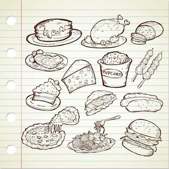 Conjunto de rabiscos de junk food mão desenhada