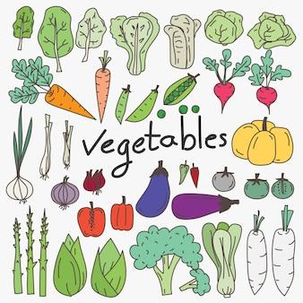 Conjunto de rabiscos de legumes de mão desenhada
