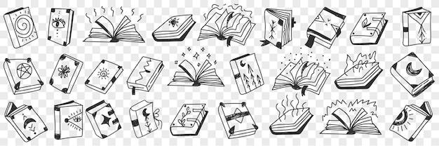 Conjunto de rabiscos de livros espirituais ocultistas
