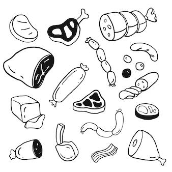 Conjunto de rabiscos de mão desenhada carne