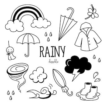 Conjunto de rabiscos de mão desenhada dia chuvoso
