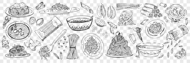 Conjunto de rabiscos de mão desenhada macarrão