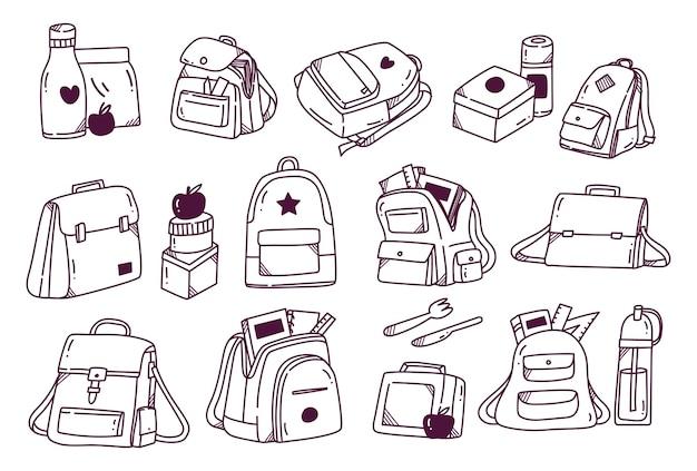 Conjunto de rabiscos de mochila