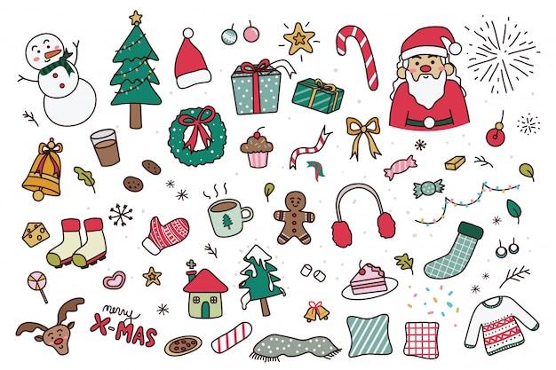 Conjunto de rabiscos de natal de mão desenhada