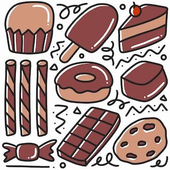 Conjunto de rabiscos de várias sobremesas desenhadas à mão com ícones e elementos de design