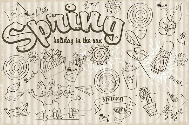 Conjunto de rabiscos diferentes sobre um tema de primavera. contorno preto