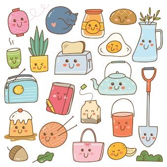 Conjunto de rabiscos kawaii, adesivos bonitos, patches de moda