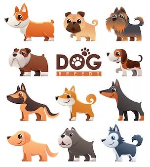 Conjunto de raças de cães dos desenhos animados
