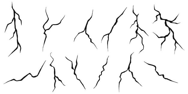 Conjunto de rachaduras de mão desenhada isolado no fundo branco. ilustração vetorial