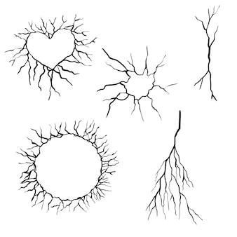 Conjunto de rachaduras de mão desenhada isolado no fundo branco. ilustração vetorial.