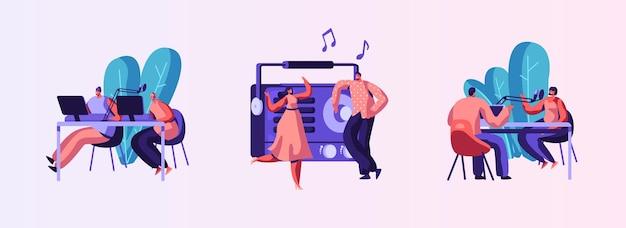 Conjunto de rádio personalidade no ar. apresente e reproduza a seleção individual de músicas gravadas. host talk show, entrevista celebridades ou convidados. os personagens ouvintes dançam. ilustração em vetor desenho animado