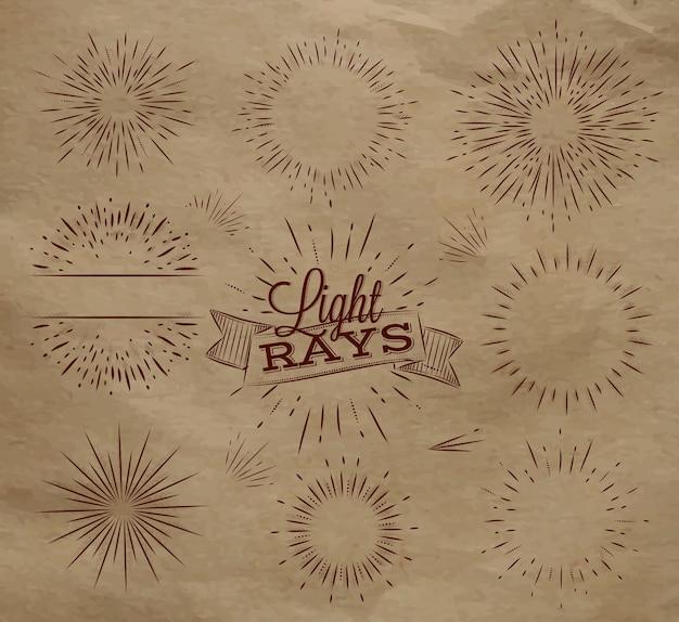 Conjunto de raio de luz no estilo vintage estilizado desenho com kraft