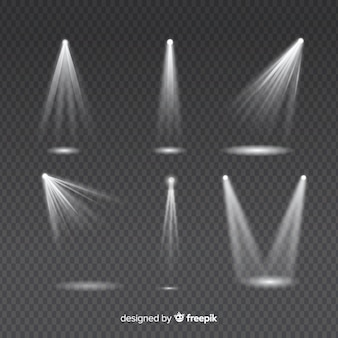 Conjunto de raios de luz para iluminação de iluminação branca em transparente