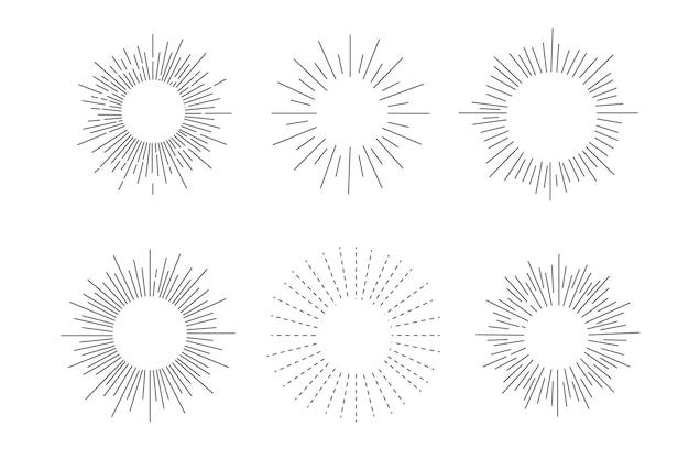 Conjunto de raios de sol, efeitos de explosão, rabiscos vintage isolados no fundo branco