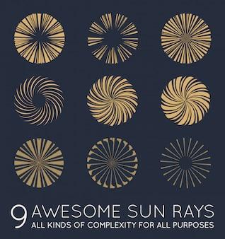 Conjunto de raios de sol em dourado