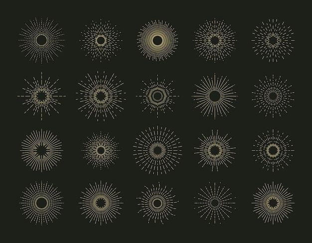Conjunto de raios de sol no preto