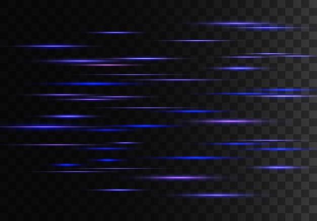 Conjunto de raios horizontais azuis, lente, linhas. raios laser.