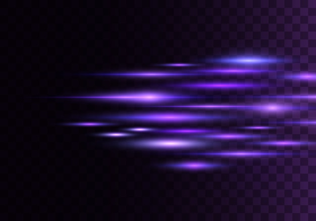 Conjunto de raios horizontais de cor, lente, linhas. raios laser. azul, roxo luminoso abstrato espumante alinhado fundo transparente. clarões de luz, efeito.