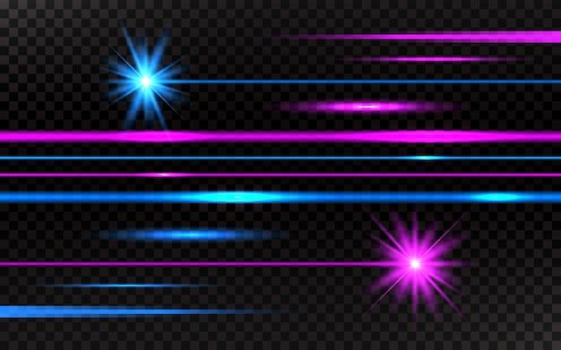 Conjunto de raios laser. fundo de raios de luz horizontal rosa e azul