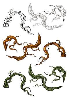 Conjunto de raízes e galhos de árvore gráfico dos desenhos animados