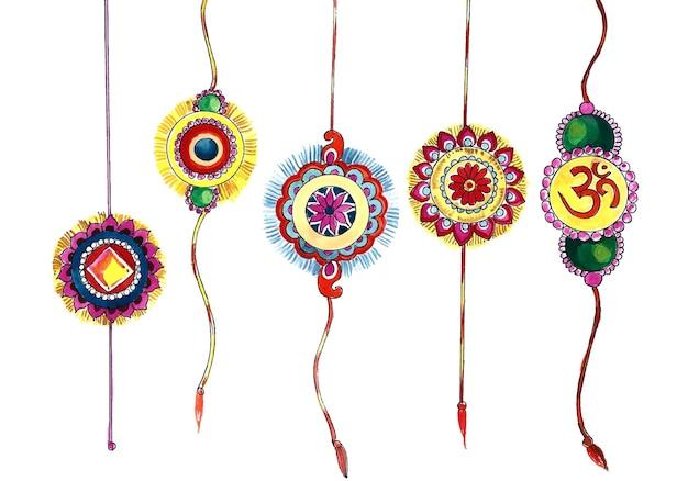Conjunto de rakhi decorado com design de raksha bandhan do festival indiano