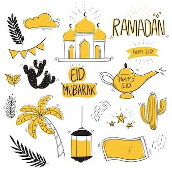 Conjunto de ramadan kareem com estilo doodle ou desenho à mão