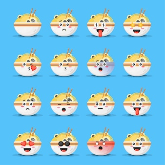Conjunto de ramen fofo com emoticons