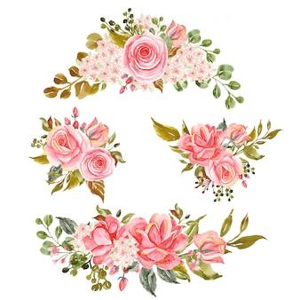 Conjunto de ramo floral, arranjo de flores em aquarela rosa rosa