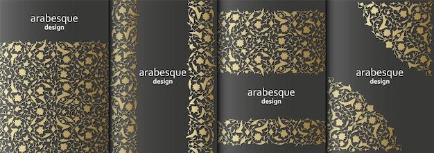 Conjunto de ramos de banners florais arabescos verticais com folhas de flores e pétalas