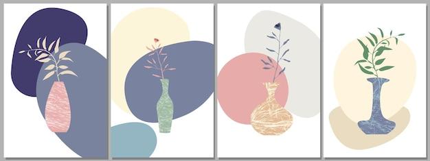 Conjunto de ramos e folhas de pôster abstrato em um vaso silhueta abstrata de vasos e plantas.